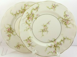 """Theo Haviland NY Rosalinde Salad Plates 7.5"""" Set of 2 Ivory Porcelain Pink - $18.81"""