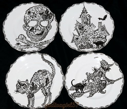 222 Fifth Wiccan Lace 4 SALAD PLATES Halloween, Witch Cat House Skull, N... - $36.99