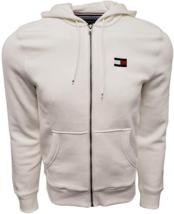 Tommy Hilfiger Mens Full Zip Logo Hoodie Sweatshirt , White, 3XL - $69.29