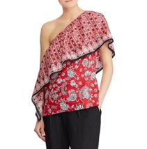 Lauren Ralph Lauren Charlaine One-Shoulder Top Size X-large - Red Multi - $94.05
