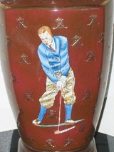 Golf Lamp for Living Room Light Hand Painted Maroon Gold Accents Golf Clubs - $149.99