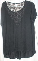 NEW WOMENS  JUNIOR PLUS SIZE 3X BLACK TOP WITH LARGE V SHAPED LACE BACK - $16.44