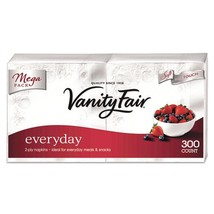 Vanity Fair Everyday Dinner Napkins, 2 Ply, White, 300/pack, 5 packs - $94.71