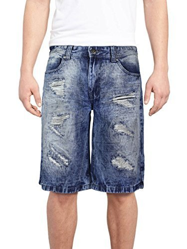 Brooklyn Xpress Men's Relaxed Fit Ripped Distressed Jean Denim Shorts (32W, BX70