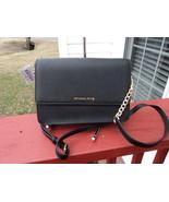 Authentic Michael Kors Large Gusset Crossbody Black Safianno Leather NWT... - $138.59