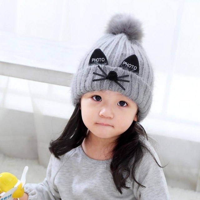 8e452228f27 Korean Winter Baby Knitted Hat Kids Double Layer Fur Ball Cap Cute Cartoon  Croch