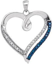 10k White Gold Womens Round Blue Color Enhanced Diamond Heart Outline Pendant - $233.00