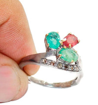 Victorian 0.40ct Rose Cut Diamond Ruby Emerald Glamorous Bridal Ring - $288.92