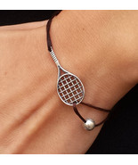 Tennis bracelet, charm bracelet, Tennis racket charm, Racket Charm bracelet - $46.00