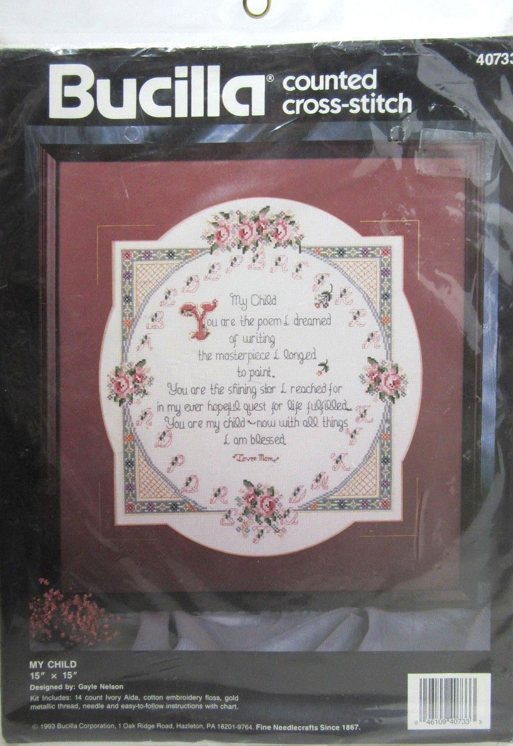"Bucilla My Child Counted Cross Stitch Kit 40733 15"" x 15"" Poem Memories 1993 VTG"