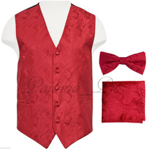 Red Paisley Vest Waistcoat & Bow tie Hanky Formal Wedding Prom Tuxedo Suit - $22.75+