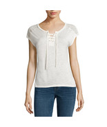 a.n.a Sleeveless Lace-Shoulder Tee Size M, L New Crema - $11.99