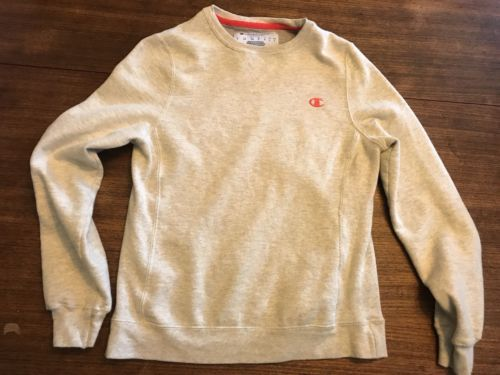 Champion sweatshirt  Gray Orange Logo Small Gussets
