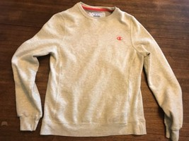 Champion sweatshirt Eco Reverse Weave Style Gray Orange Logo Small Gussets - $18.81