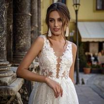 Glittery Princess Side Split V Neck Appliques Lace Boho Wedding Dress image 3