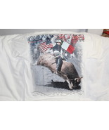 COWBOY RIDING BULL THE UNIVERSAL RIDERS RODEO MEXICO USA FLAG T-SHIRT WHITE - $11.65