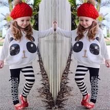 Fashion girls striped long sleeve top leggings pant image 2