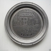 "Pewter plate Ye Old Mill Ent Lancaster PA  10 3/4"" - $12.50"