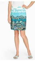 Talbots Cotton A-Line Venice Scene Skirt Lined Multi-Colored Size 4 Peti... - $39.50