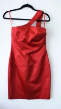 MICHAEL KORS One Shoulder Red Taffeta Cocktail Dress Sz 6 $1675 Style KRT417A - $356.32