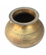 ANTIQUE HAND CURVED GOLDEN COLOR POT FOR DISPLAY COLLECTIBLE INDIAN LOTA - $30.39
