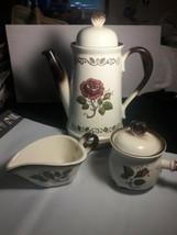 Metlox Poppytrail Provincial Rose Tea Pot, Sugar Bowl w lid, Creamer.  RARE 5PC - $54.45