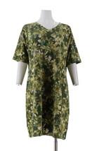 Isaac Mizrahi SOHO Elbow Slv Floral T-Shirt Dress Camo Green M NEW A305206 - $27.70
