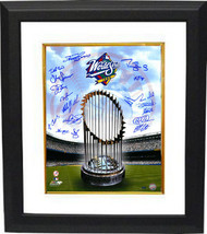 New York Yankees signed 16x20 Photo Custom Framed 1998 WS Champions Logo... - $248.95