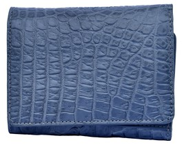 Decorative Astronaut Blue Trifold Style Card Slots Real Crocodile Leather Wallet - $176.39