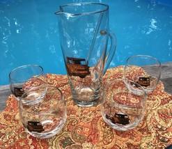 Vintage Mid-Century Art Glass Trucks Bar Pitcher Stirrer 4 Roly Poly Gla... - $44.10