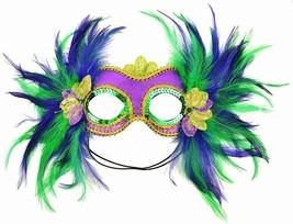 Mardi Gras Satin and Feather Half Mask, Purple - $9.97 CAD