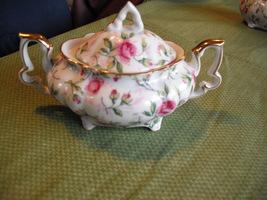 Lefton Four Toed Rose Chintz Covered Sugar - $14.99