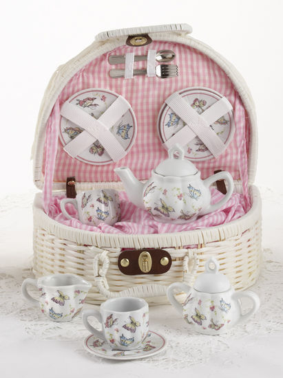 Delton Products Porcelain Pink Butterfly Tea Set for Two in White Basket 8097-6
