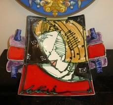 Juozas & Rasa Saldaitis Signed Studio Art Pottery Colorful Wall Plate - $149.00