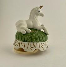 Vintage  White Ceramic Unicorn Rotating Music Box - $21.99