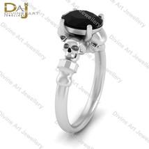Skeleton Skull Gothic Black Onyx Engagement Ring For Women Solid 10k Whi... - £502.55 GBP