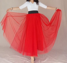 A Line Long Tulle Skirt High Waisted Red Long Tulle Skirt Puffy Tutu Pockets image 6