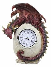 "Ebros Red Ember Dragon Protecting Egg Table Clock Figurine 7"" Tall Mythical Fant - $34.99"
