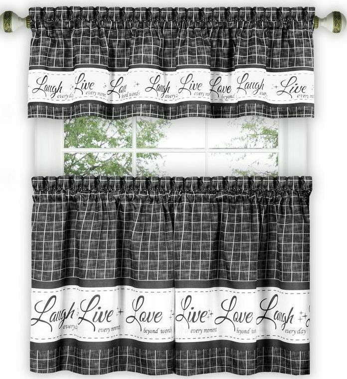 "Primary image for 3 pc Curtains Set: 2 Tiers & Valance (58"" x 14"") LIVE LAUGH LOVE,charcoal, Achim"