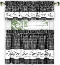 "3 pc Curtains Set: 2 Tiers & Valance (58"" x 14"") LIVE LAUGH LOVE,charcoa... - $23.75"