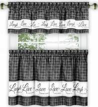 """3 pc Curtains Set: 2 Tiers & Valance (58"""" x 14"""") LIVE LAUGH LOVE,charcoal, Achim - $23.75"""