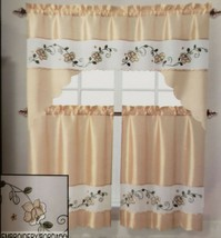 """3pc. Embroidery Curtains Set:2 Tiers 28""""x36"""" & Valance (57""""x36"""") LIZZY FLOWER,VC - $21.77"""