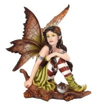 "5.25"" Fairyland Autumn Fairy Elf Sitting on Oak Leaf [9733] - $19.79"