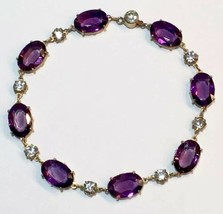 Victorian amethyst diamond PASTE sterling SILVER gold gilt Riviere bracelet - $413.25