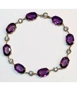 Victorian amethyst diamond PASTE sterling SILVER gold gilt Riviere bracelet - $413.25