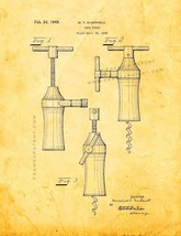 Corkscrew Patent Print - Golden Look - $7.95+
