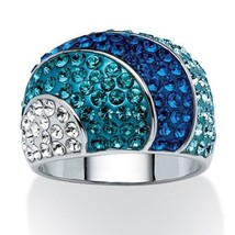 Blue Crystal SWAROVSKI ELEMENTS Platinum-Plated Dome Ring - $29.99