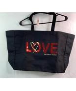 Victoria's Secret Love Tote Weekender Heart  Bag Canvas  Black Sequin Lo... - $24.68