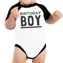 Birthday Boy Black And White Baby Baseball Shirt - $15.99