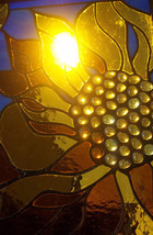 Stained Glass Window Leaded Glass Panel sunny sunflower sunshine mother - $399.00